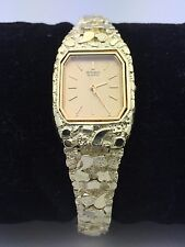 "Seiko Women's 14K Solid Yellow Gold 7.5"" Nugget Style Wrist Watch 38.8 grams"