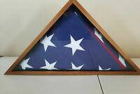 USA American Veteran Flag Wood Display Case w/Casket Flag 5' x 8'