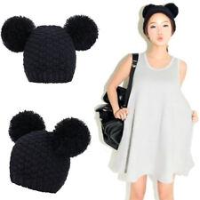 Cute Women's Winter Warm Chunky Crochet Knit Beanie Hat with Double Pom Pom Ears