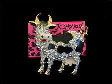 Milk Cow Charm Brooch Pin Gift Betsey Johnson Black Enamel Crystal Lovely Spot
