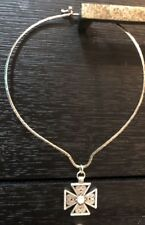 Brighton Jewelry Silver Plated Cross Necklace With Sterling Silver Choker