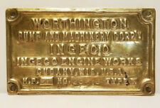 WORTHINGTON PUMP and MACHINERY Heavy Brass DATA PLATE Tag INGECO Engine Works