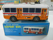 VINTAGE 60'S AIRPORT BUS-YONEZAWA ALPS TOY,MADE IN JAPAN-TIN TOY BATTERY-WORK!!