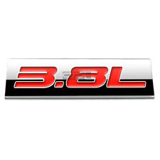 BUMPER STICKER METAL EMBLEM DECAL TRIM BADGE POLISHED CHROME RED 3.8L 3.8 L