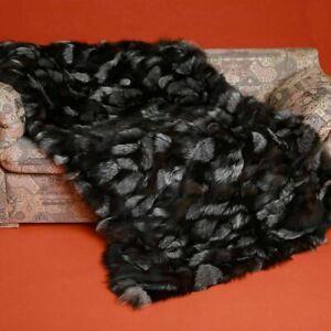 Silver Fox Fur Blanket Bedspread Throw Mosaic