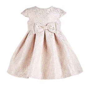 Bonnie Baby Girls 3-6M Pink Gold Metallic Dot 2 Piece Lined Bow Dress NWT