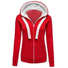 Ladies Hoodie Sweatshirt Zip Up Plain Jacket Hooded Womens Jumper Hoody Coat Top