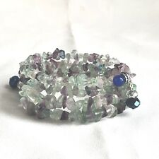 Memory Wire Wrap Bracelet Nwot Beautiful Handmade Flourite Chips 3 Coils