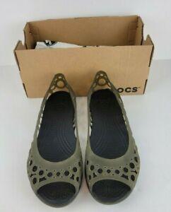 Crocs Adrina Open Toe Womens Size 7 Green Flat Slip On Shoe