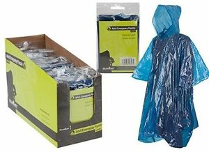Blue Pocket Adult Compact Folding Waterproof Outdoor Poncho Camping Festival