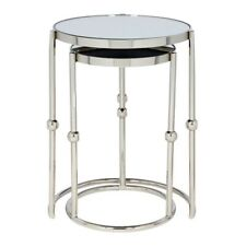CONTEMPORARY Tables Mirrored Glass and Nickel Nest Of 2 Table RRP £400 Sale £99