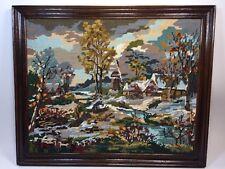 Paysage Et Village ,cadre tableau broderie au point de croix encadrée fait main,