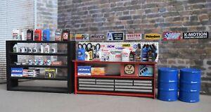 1/18 Scale; Metal top Work Bench, & Shelf / Austin's Garage, Shop, Diorama