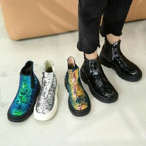 Women's Fahsion Glitter Sequin Elastic Top Pull On Chelsea Ankle Boots Shoes SKG