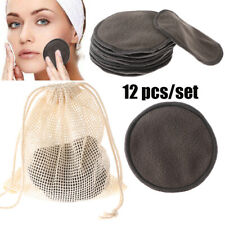 12PCS Reusable Cosmetic Cotton Pad Bamboo Makeup Remover Pad Cleansing Pads