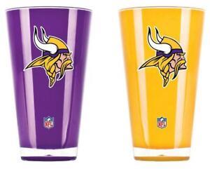 Minnesota Vikings 20oz Insulated Acrylic Tumbler Set of 2 [NEW] Glass Mug Cup