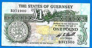Guernsey P48a One Pound D.De LISLIE BROCK Black Sign W C Bull 1980 VF+ SCARCE