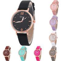 Women's Fashion Leather Band Analog Quartz Round Wrist Watch Casual Watches