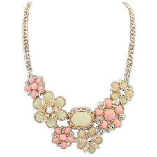 Women New Vintage Bib Statement Necklace Party Jewelry Necklace Chunky (Pink)