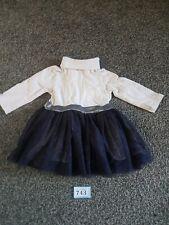 Girls 3-6 Months Grey And Blue Long Sleeve Dress (B743)