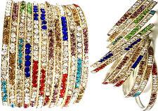 "12PC Multicolor Stone Party Wear Ethnic Wedding Bangles Set/ Kada Set -(2.6"")"