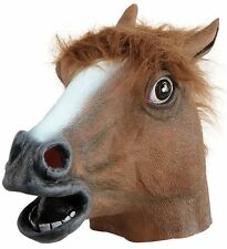 Unisex Rubber Horse Full Head Masks Fancy Dress Costume Grand National Outfit