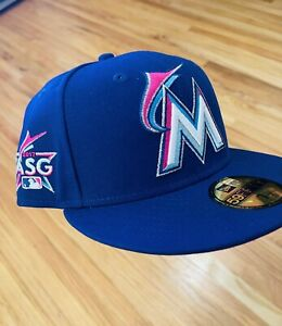 Hat Club Exclusive Miami Marlins 59fifty 2017 AllStar Game Patch Pink UV 7 1/2
