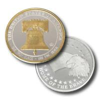 1 - 1 oz. 999 Fine Silver Round - Liberty Bell- 24 K Gold Detail- BU- in Capsule