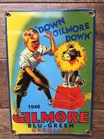 "Vintage Gilmore Gasoline Heavy Porcelain Sign Gas & Oil Sign 12"" X 8"""