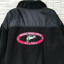 Wood River Lodge XL Alaska Wild Salmon Fishing Fleece Fiber Black Zip Jacket