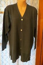 VINTAGE  80'S ~ SUSSAN ~ Greeny Grey Tunic CARDIGAN  * Size M * REDUCED !!