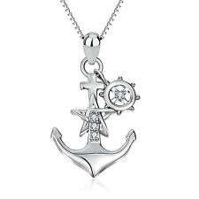 Sterling Silver Anchor Star navigate compass sailing theme Pendant Necklace Gift