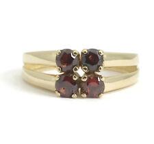 Red Garnet Gemstone Split Shank Ring in 18K Yellow Gold, Size 5.75, 3.00 Grams