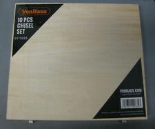 VonHaus 10pc Woodworking Chisel Set w/Honing Guide, Sharpening Stone & Wood Case