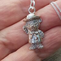Teddy Bear Silver Necklace Paddington bear pendant UK HANDMADE silver Jewellery