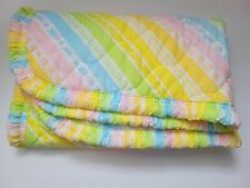 "Vtg 1980s Baby Comforter Striped Rainbow Blanket Pastel Bedding Nursery 45""x35"""