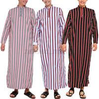 Mens Muslim Saudi Arab Clothing Striped Party Dress Islamic Jubba Thobe Kaftan