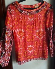 TORY BURCH WOMEN'S TIE DYE TUNIC STYLE TOP, RED ORANGE-Size Large