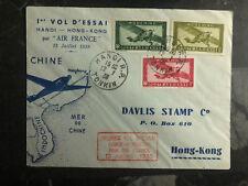 1938 Hanoi Vietnam First Flight Cover to Hong Kong FFC via Air France 200 Flown