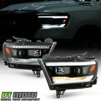 2019-2020 Ram 1500 Halogen Black LED DRL Sequential Signal Projector Headlights