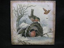 Vintage Look Magic Hat Canvas Birds Snowman Hat Winter Christmas Wall Decor