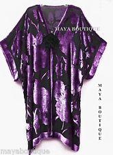 Silk Burnout Velvet Jacket Kimono Duster Purple & Black No Fringe Maya Matazaro