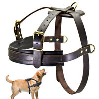 Genuine Leather Dog Harness Brown No Pull Adjustable for Large Breeds Bulldog XL