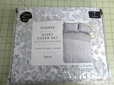 MIP-New- Cannes- Twin Duvet Cover & Sham Grey & White Floral Cotton