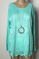 Shirt Gr. L-XL/40-42 mint-grün Spitzen Long Shirt/Langarmshirt NEU
