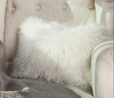 "White  Real Mongolian Lamb Wool Fur  11X22"" Pillowcase 28x55cm Inner Cushion"