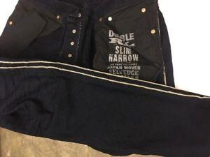 RRL double rl Mens new navy blue Slim narrow Selvedge Denim Jeans japan woven