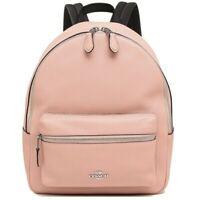 NWT COACH Medium Charlie Backpack Cute Leather School Petal Pink Silver F30550