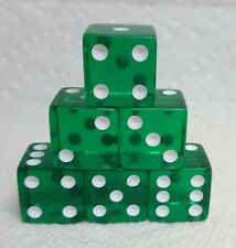 Dice Koplow 19mm *6/Set* Transparent Green w/White Pips - Squared Larger Size