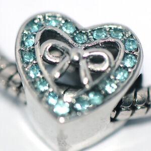 1X Heart Green Bead Charm Silver Fit Eupropean Chain Bracelet Making Jewelry DIY